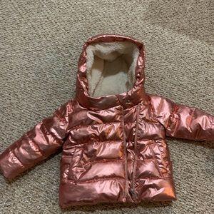 Gap kids metallic pink puffer jacket